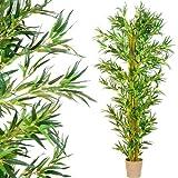 PLANTASIA Bambus-Strauch, Echtholzstamm, Kunstbaum, Kunstpflanze - 220 cm, Schadstoffgeprüft