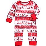 Bebé Pijama de Navidad Mono Navideño para Recién Nacido Pelele de Manga Larga con Botones para Niños Niñas Ropa de Una Pieza