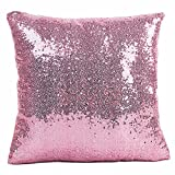 JOTOM Doux Solide Couleur Glitzy Sequin Home Décor Taie d'oreiller, Housse de Coussin pour Canapé Voiture 40x40 cm (Rose)