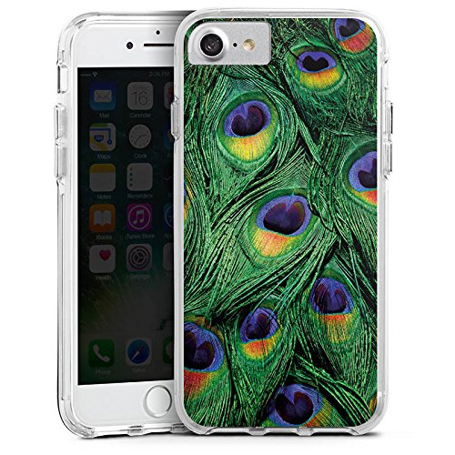 Apple iPhone 6 Plus Bumper Hülle Bumper Case Glitzer Hülle Pfau Federn Dschungel Bumper Case transparent