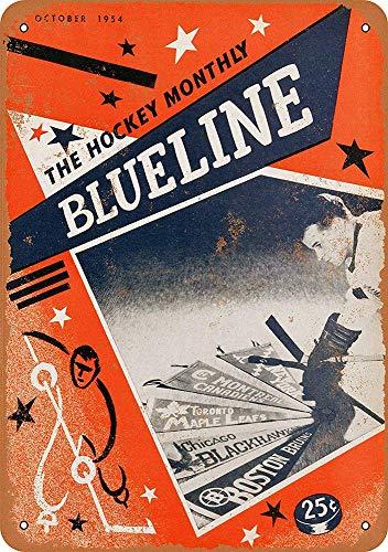 MiMiTee Ice Hockey Monthly Blueline Blechschilder Weinlese-Metallplakette Wandkunst Plakat Eisen-Malerei Haus Dekoration Kunsthandwerk Cafe Bar Hof Geschenk