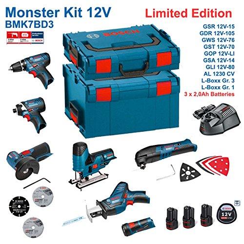 Preisvergleich Produktbild BOSCH Kit 12V BMK7BD3 (GSR 12V-15 + GDR 12V-105 + GWS 12V-76 + GST 12V-70 + GOP 12V-LI + GSA 12V-14 + GLI 12V-80 + 3 x 2,0Ah + AL1230CV + L-Boxx 238 + L-Boxx 102)