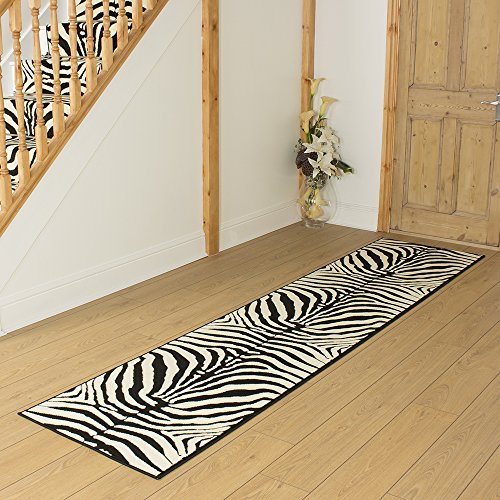 Zebra Black Animal Print - Long Hall & Stair Carpet Runner