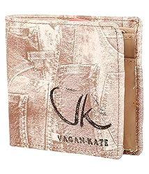 Vagan-kate denim design leather tan wallet for men
