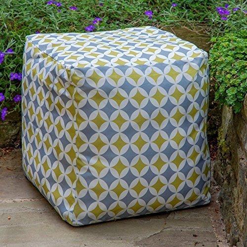 """Designer Wasserdicht marokkanischen Garten Outdoor Sitzwürfel/Sitzhocker-Grau & Senf Bahia, """"Marrakech"""" Kollektion-Entworfen, bedruckt & Handarbeit in der UK"""