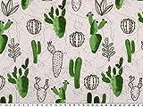 Zanderino ab 1m: Baumwoll-Popeline, Digitaldruck, Kaktus, weiß-grün, 150cm breit