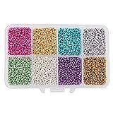Pandahall Elite 26400 Teile/schachtel 13/0 Grade A Gefärbtes Glas Round Rocailles für Schmuck Machen, 2,3x1,5mm, Loch: 1mm, 8 Mischfarben