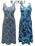 Sugar Crisp Women's Reversible Sleeveless Maxi Cover up Beach Casual Dress UK Plus Size UK 10 12 14 16 (Large (UK 14))