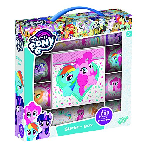 MLP Totum-My Little Pony Stickerbox - 12 Stickerbögen mit über 1000 Sticker und Einem Stickeraufklebehintergrund