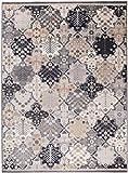 We Love Rugs - Carpeto Traditioneller Klassischer Teppich für Ihre Wohnzimmer - Grau Beige Creme Schwarz - Patchwork Perser Orientalisches Muster - Top Qualität Pflegeleicht AYLA 200 x 300 cm Groß