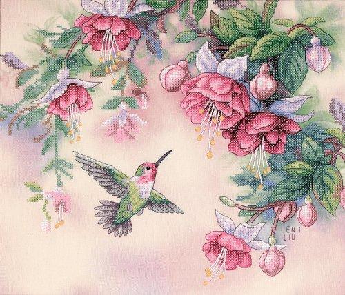 Dimensions Kreuzstich-Set (inkl. Vorlage, Nadel und Anleitung), Humming Bird and Fuchsias -