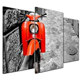 Kunstdruck - Retro Roller - Bild auf Leinwand 100 x 60 cm 3tlg - Leinwandbilder - Bilder als Leinwanddruck - Motorisiert - schwarz weiß - roter Motorroller