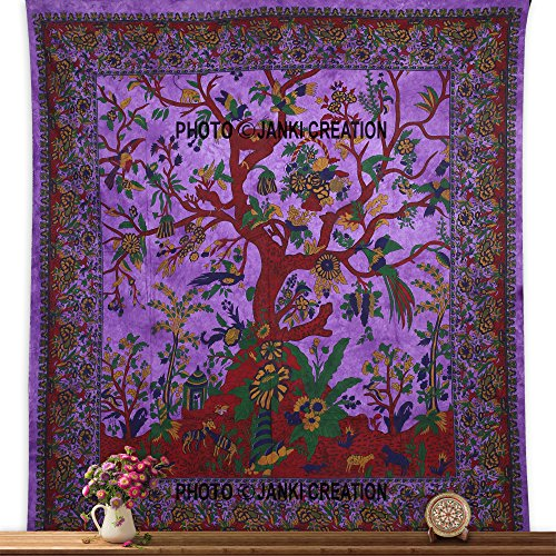 indischen Hippi Tree of Life Tapisserie, Psychedelic, 215,9 x 241,3 cm Mandala Wandteppichen, Tapisserie, Indian Boho Wandteppiche Bohemian Queen, Wandbehang, Tagesdecke, Blossom Bird, Wand-,