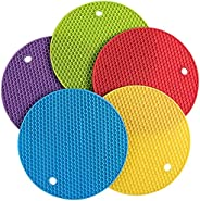 KASTWAVE 5 Pcs Extra Thick Silicone Round Trivet Mats Multi-Purpose Pot Holder Non-Slip Trivets for Hot Pots a