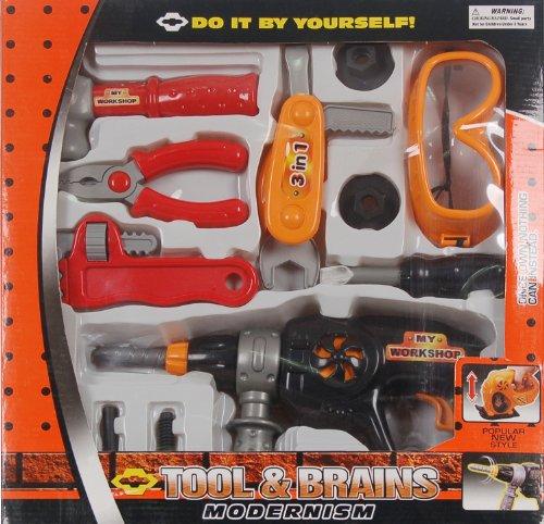 Kostüm Mechaniker Zubehör - 12-tlg DIY Werkzeugset für Kinder mit Bohrmaschine, Schutzbrille, Werkzeug, Schrauben und Zubehör