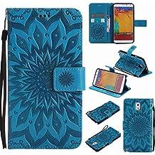 Guran® Funda de Cuero Para Samsung Galaxy Note 3 (5.7 pulgadas) Smartphone Función de Soporte con Ranura para Tarjetas Flip Case Cover-azul
