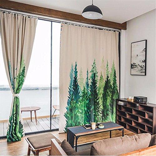 Idyllische Wald frische Kunst Stil Schattierung dicken Stoff Wohnzimmer Schlafzimmer Vorhänge, Breite 2.0x2.7 hoch M