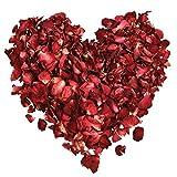 Hestya 100 Gramm Getrocknete Rosenblätter Rote Echte Blume Rosenblatt für Bad Fußbad Hochzeit Konfetti Handwerk Zubehör, 1 Tasche