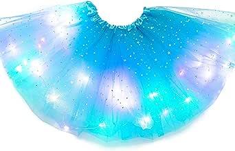 SFeng - Gonna a tutù con luci a LED, per bambine, con luce magica da principessa a LED, luminosa per feste di Natale