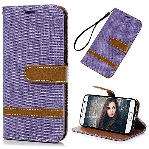 Mlorras Hülle für Samsung Galaxy S7, Denim Leder Handyhülle Klappbares Brieftasche Schutzhülle Wallet Case Cover mit Integrierten Kartensteckplätzen Lila -