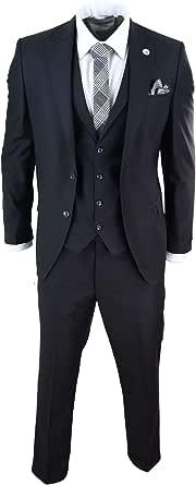 Mens 3 Piece Suit Black Tailored Fit Smart Formal 1920s Classic Vintage Gatsby