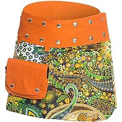 ufash Minifalda en Colores de Moda con Botones automáticos, Naranja