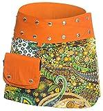 ufash Minirock aus Indien, Sommerrock kurz, Wenderock, Wickelrock Goa Gipsy Hüftschmeichler, Orange