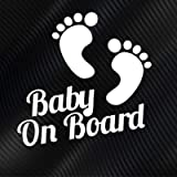Subcribo Baby On Board Feet Car Window Sticker Made of White Vinyl Decal That is Waterproof Ideal Baby Warning Sign…
