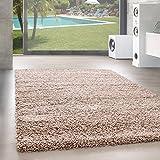Unbekannt Shaggy Hochflor Langflor Teppich Wohnzimmer Carpet Uni Farben, Rechteck, Rund, Größe:80x150 cm, Farbe:Beige