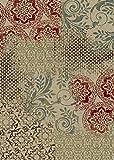 Aspect Diseño con estilo Vintage Noctem alfombra Beige con Borgoña marrón azul y verde 120 x 170 cm