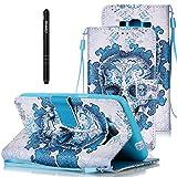 Leder Tasche Schutzhülle für Samsung Galaxy Grand Prime G530 Hülle Lanyard Flip Cover Wallet Case Slynmax Hand Strap Lederhülle HandyhülleShell S[Aufstellfunktion] [] [verschluss],Blaue Wolke Kito