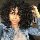 AISI HAIR Perruques courtes frisées afro, perruques frisées pour femmes noires, perruques synthétiques résistantes à la chaleur, perruques noires complètes avec franges.