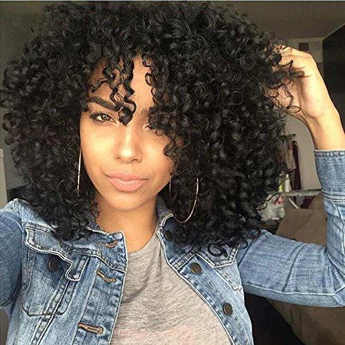 AISI HAIR - Pelucas de pelo corto rizado; pelucas de pelo afro rizado para mujeres negras. Pelucas sintéticas con flequillos resistentes al calor, de color negro.