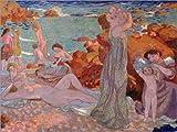 Posterlounge Acrylglasbild 40 x 30 cm: Badende Frauen in Le Pouldu von Maurice Denis/akg-Images - Wandbild, Acryl Glasbild, Druck auf Acryl Glas Bild