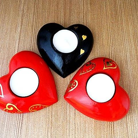Zuzana de photophores–Feu dans le cœur–Trois en Lot, Plâtre, Red - black - red, 9x10x3 cm ea one