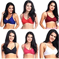 KBlrs Women's & Girls' Cotton Non Padded Non-Wired T-Shirt Bra Everyday everydayMix (Pack of 6)