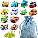 BBLIKE Set Macchinine per Bambini - 12 pezzi Macchinine Giocattolo per Bambini, Mini Tirare Indietro Veicoli con Borsa di Stoccaggio per bambini 1~6 anni