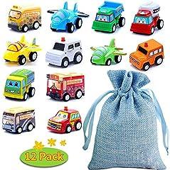 Idea Regalo - BBLIKE Set Macchinine per Bambini - 12 pezzi Macchinine Giocattolo per Bambini, Mini Tirare Indietro Veicoli con Borsa di Stoccaggio per bambini 1~6 anni