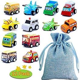 BBLIKE Set Macchinine per Bambini – 12 pezzi Mini Auto Tirare Indietro Veicoli da Costruzione, Camion dei Pompieri, Auto da Corsa