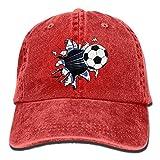 SKIJJINM Hat Soccer Football Break The Wall Denim Skull Cap Cowboy Cowgirl Sport Hats for Men Women