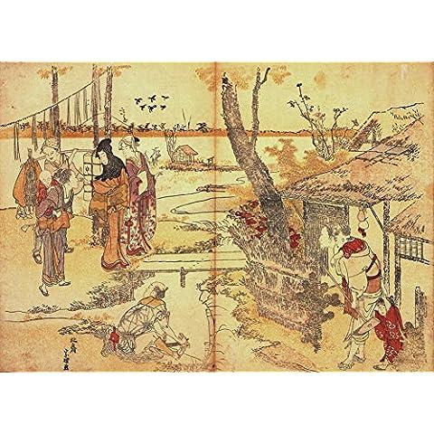 HOKUSAI campesinos por un arroyo. 18 de siglo 19 Japón, Reproducción sobre Calidad 250gsm de espesor en Cartel A3 Tarjeta