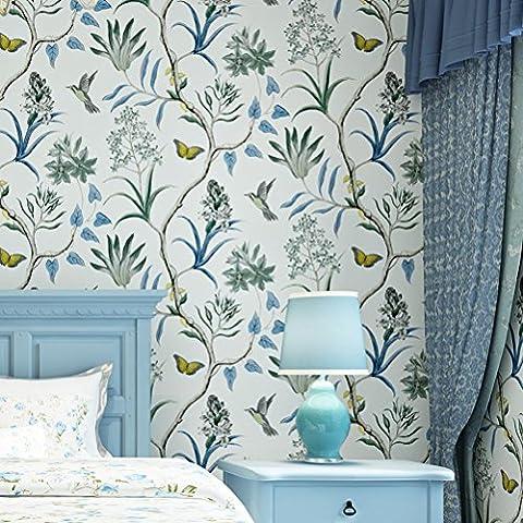 Papier Peint Forêt Mystique Fleurs Wall Paper Décoration Mural 10m*0.53m 99302 , Blue