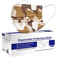 Camouflage Imprimé Masques pour Adultes_jetables, Protection Respirante à 3 Couches,Boucles d'oreille réglables &Fil de…