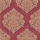 Grandeco Luxus Venedig Groß Damast Geprägt Geblasene Vinyl Wandtapete - Rot VNA-005-007-0