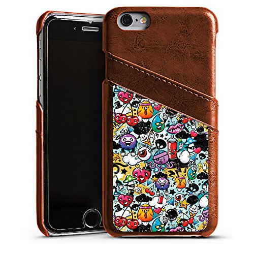 Apple iPhone 5s Housse étui coque protection Graffiti Style autocollant Monstre Étui en cuir marron