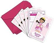 6 cartes invitation et enveloppes anniversaire thème princesse - RoseRose la princesse (en français)
