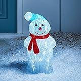Lights4fun - Decoración Navideña Luminosa Muñeco de Nieve con LED Blancos para Interiores y Exteriores