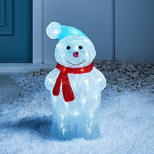 Lights4fun - Decoración Navideña Luminosa Muñeco de Nieve con LED Blancos para Interiores y...