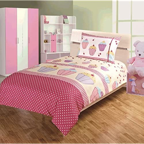 Childrens Kids DOUBLE BED SIZE CUPCAKE DESIGN GIRLS DUVET COVER AND PILLOWCASE SET By Viceroybedding