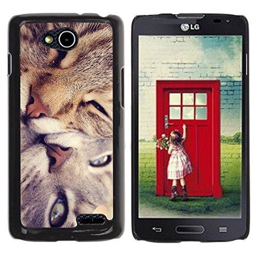 DREAMCASE Hart Handy SchutzHülle Hülle Schale Case Cover Etui für LG OPTIMUS L90 D415 - Cute Cat Friends
